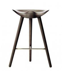 by Lassen ML42 Krzesło Barowe -- Hoker 69 cm Dąb Ciemnobrązowy / Poprzeczka Złota