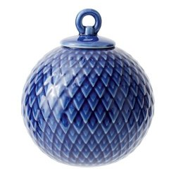 Lyngby Porcelain RHOMBE Bombka Porcelanowa - Niebieska