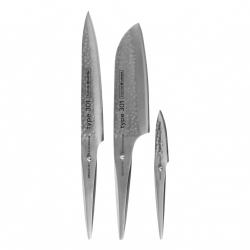 Chroma TYPE 301 HM Nóż Santoku, Nóż do Plastrowania, Nóż do Obierania - Zestaw 3 Noży
