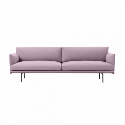 Muuto OUTLINE Sofa 3-Osobowa - Różowa - Tkanina Fiord 551 / Czarne Nogi