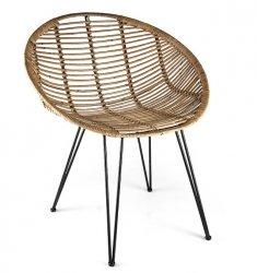 Villa Collection SCANDI Krzesło Rattanowe z Czarną Podstawą