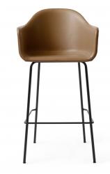 Menu HARBOUR Krzesło Barowe 112 cm Hoker Czarny - Siedzisko Skóra Naturalna Brązowa