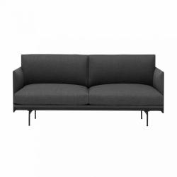 Muuto OUTLINE Sofa 2-Osobowa - Ciemnoszara - Tkanina Remix 163 / Czarne Nogi
