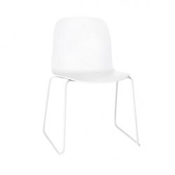Muuto VISU SLED BASE Krzesło Drewniane na Stalowej Ramie - Białe