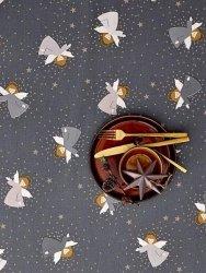 Sodahl CHRISTMAS Obrus Świąteczny na Stół 140x270 cm Szary z Aniołami