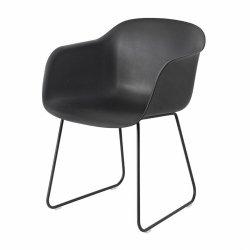 Muuto FIBER ARMCHAIR SLED BASE Krzesło - Czarne / Metalowa Rama