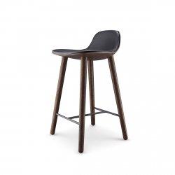Eva Solo ABALONE Hoker - Krzesło Barowe 65 cm - Siedzisko Czarna Skóra / Rama Ciemny Dąb