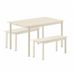 Muuto LINEAR Zestaw Mebli Ogrodowych - Stół 140 cm + 2 Ławki - Biały