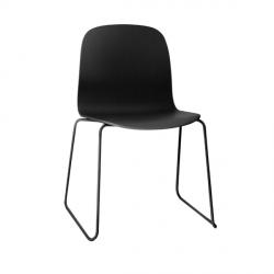 Muuto VISU SLED BASE Krzesło Drewniane na Stalowej Ramie - Czarne