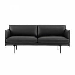 Muuto OUTLINE Sofa 2-Osobowa - Czarna Skóra / Czarne Nogi