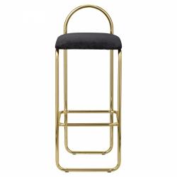 AYTM - ANGUI Hoker - Krzesło Barowe 92,5 cm Złote z Grafitowym Siedziskiem