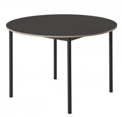 Muuto BASE Stół Okrągły 110 cm Czarny - Blat Linoleum