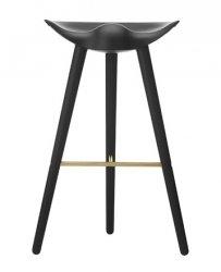 by Lassen ML42 Krzesło Barowe -- Hoker 77 cm Czarny / Poprzeczka Złota