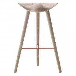 by Lassen ML42 Krzesło Barowe -- Hoker 77 cm Dębowy / Poprzeczka Miedziana