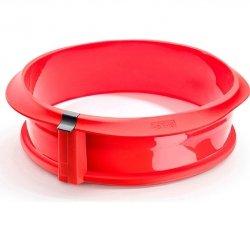 Lekue DUO Tortownica 23 cm z Ceramicznym Talerzem Czerwona