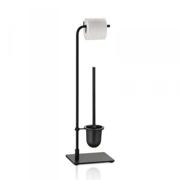Kela NERO Szczotka Toaletowa + Uchwyt na Papier - Zestaw Toaletowy Czarny