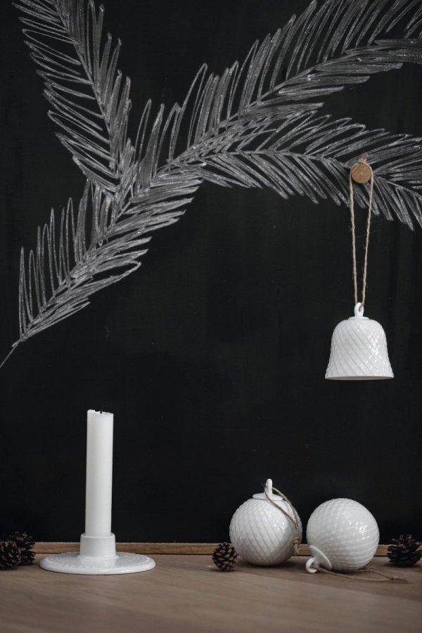 Lyngby Porcelain RHOMBE Dzwonek - Bombka Porcelanowa - Biała