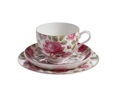 Royal Old England Filiżanka z Podstawkiem i Talerzykiem Herbaciana Róża