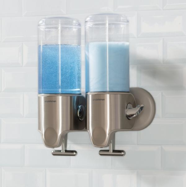 Simplehuman - Ścienny Dozownik do Szamponu, Mydła, Żelu pod Prysznic - Podwójny