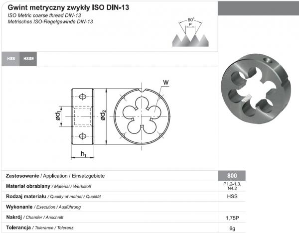 Narzynka M10 - Gwint metryczny Zwykły DIN-EN 22 568