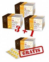--- ZESTAW 3+1 GRATIS --- Witamina D3 FORTE 4000IU + K2 MK7 (vitaMK7®) 100mcg - 120 kaps.