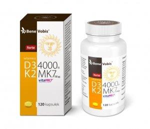Bene Vobis - Witamina D3 FORTE 4000IU + K2 MK7 (vitaMK7®) 100mcg - 120 kaps.