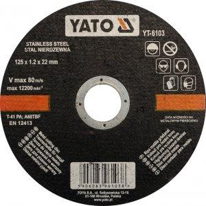 Tarcza do metalu stali nierdzew. 125x1,2 YATO 6103