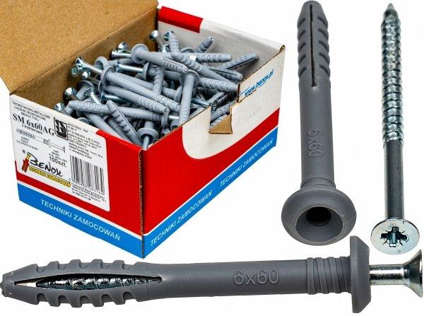 Kołki rozporowe 6x60 AG szybkiego montażu 100szt