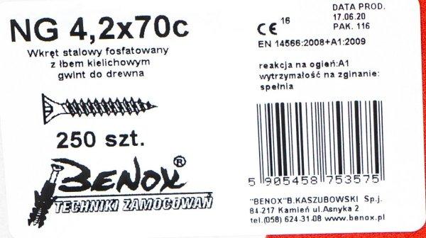 Wkręty czarne płyt gk karton gips/drewn 4,2x70 250szt. NGc