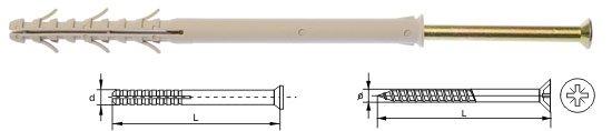 Kołki ramowe rozporowe wkręt krzyżowy 10x140 50szt