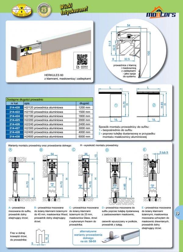Prowadnica szyna AL H2 do drzwi przesuwnych 1400mm herkules