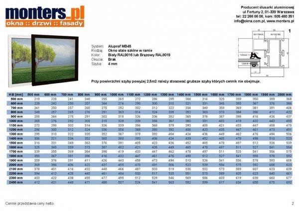 Drzwi aluminiowe 110x210 Aluprof MB45