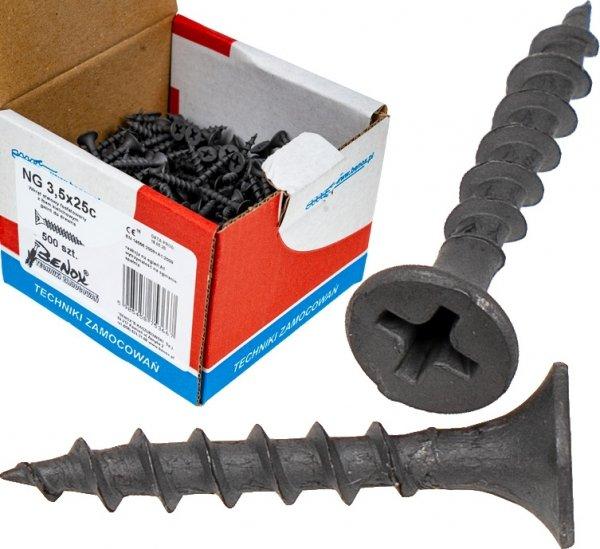 Wkręty czarne płyt gk karton gips/drewn 3,5x25 500szt. NGc
