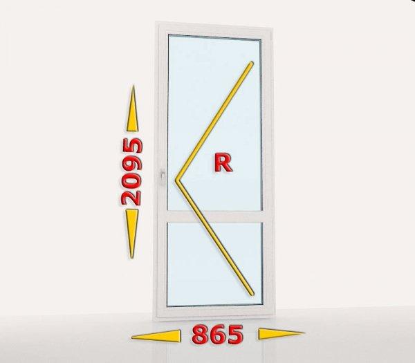 Drzwi balkonowe PCV 865x2095 rozwierne prawe białe