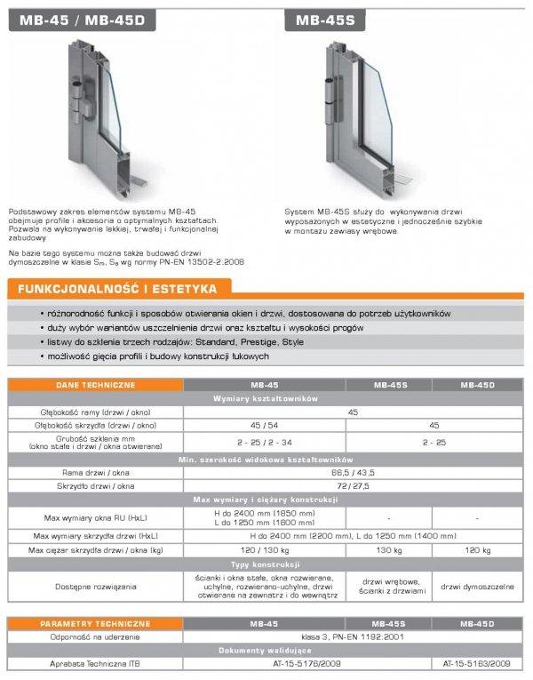 Drzwi aluminiowe 180x210 Aluprof MB45