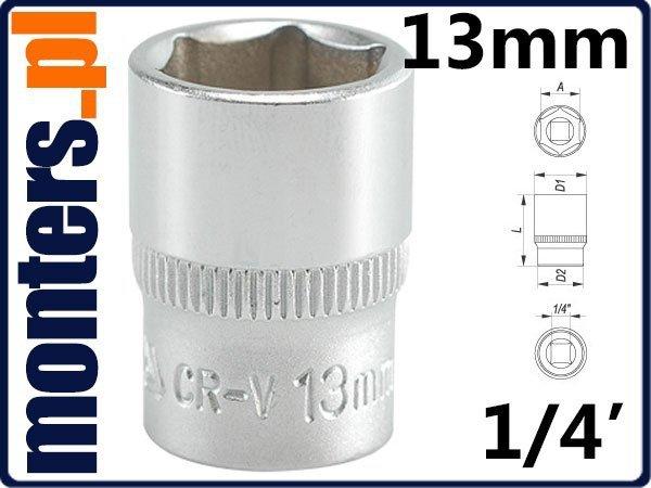 Nasadka Sześciokątna krótka 1/4-13mm YATO 1412 CRV