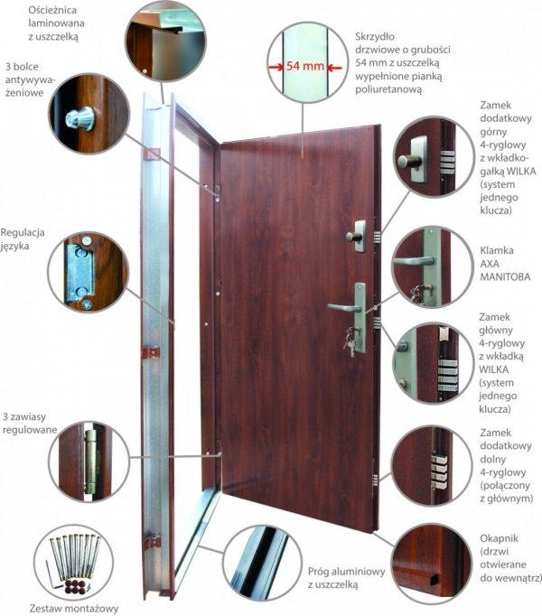 Drzwi wejściowe zewnętrzne Wikęd Premium wzór 33
