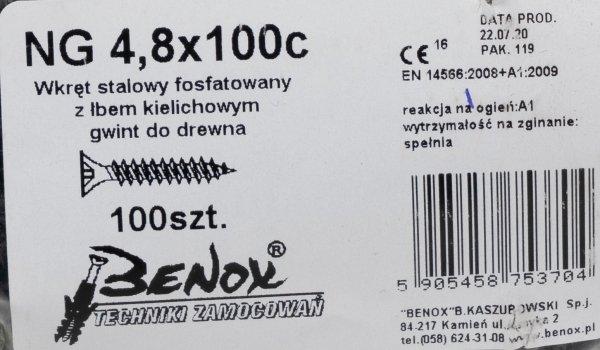 Wkręty czarne płyt gk karton gips/drewn 4,8x100 100szt. NGc