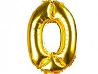 Balony Foliowe Cyferka 0 Złota 100cm - [ Komplet - 10 sztuk]
