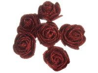 Różyczki z Pianki Brokatowe 6szt - Czerwone [Zestaw - 12 kompletów]