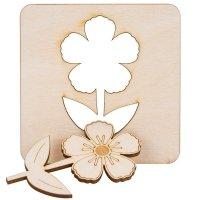 Drewniany Szablon Kwiatek [Komplet 4szt]