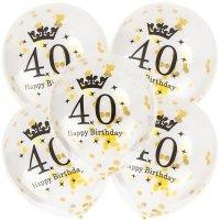 Balony 24th Birthday Konfetti Złote [Komplet - 5 opakowań]