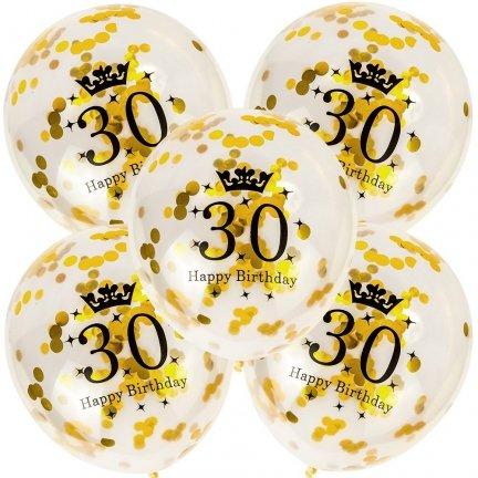 Balony 30th Birthday Konfetti Złote [Komplet - 5 opakowań]