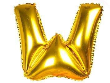 Balony Foliowe Literka W Złota 40cm - [ Komplet - 20 sztuk]