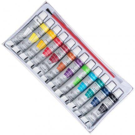 Farba Olejna 12 tubek + Pędzelek [Zestaw - 6 Kompletów]