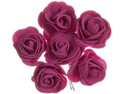 Różyczki z Pianki Amarant 6szt [Komplet 12 pęczków]