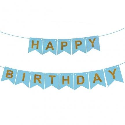 Baner Happy Birthday Błękit Złote Litery [Komplet - 2 sztuki