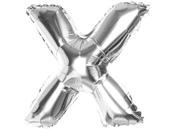 Balony Foliowe Literka X Srebrna 40cm - [ Komplet - 20 sztuk]