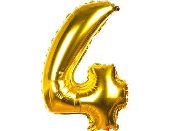 Balony Foliowe Cyferka 4 Złota 100cm - [ Komplet - 10 sztuk]