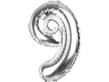 Balony Foliowe Cyferka 9 Srebrna 70cm - [ Komplet - 10 sztuk]